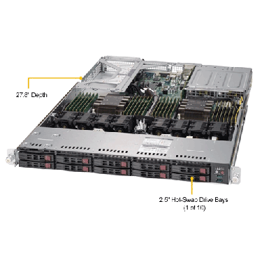 Supermicro 1U Rackmount Server SYS-1029U-TRTP2-TopAngle