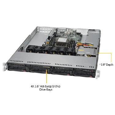 Supermicro 1U Rackmount Server SYS-5019P-WT -TopAngle