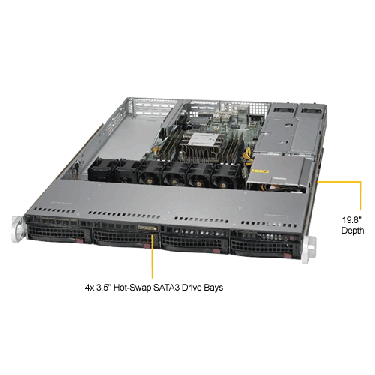Supermicro 1U Rackmount Server SYS-5019P-WTR -TopANgle