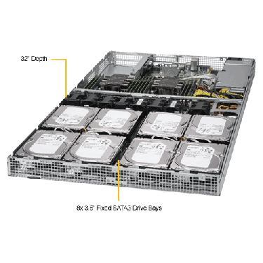 Supermicro 1U Rackmount Server SYS-6019P-WT8-TopAngle