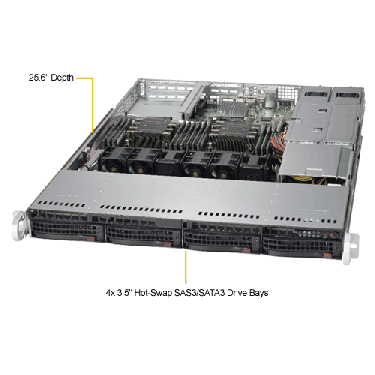 Supermicro 1U Rackmount Server SYS-6019P-WTR -TopAngle