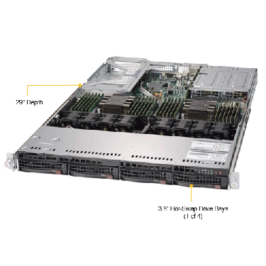 Supermicro 1U Rackmount Server SYS-6019U-TRT-TopAngle